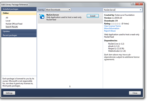 add Nuget.Server package to project